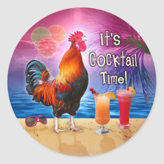 Funny Rooster Chicken Cocktails Tropical Beach Sea Classic Round Sticker