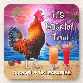 Funny Rooster Chicken Cocktails Tropical Beach Sea Coaster