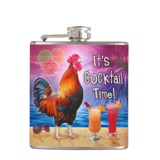 Funny Rooster Chicken Cocktails Tropical Beach Sea Flask