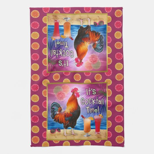 Funny Rooster Chicken Cocktails Tropical Beach Sea Kitchen Towel