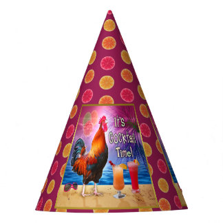 Funny Rooster Chicken Cocktails Tropical Beach Sea Party Hat