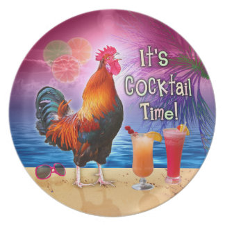 Funny Rooster Chicken Cocktails Tropical Beach Sea Plate
