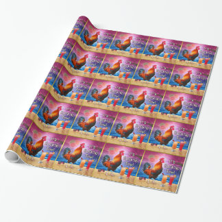 Funny Rooster Chicken Cocktails Tropical Beach Sea Wrapping Paper