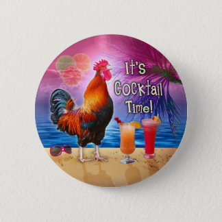 Funny Rooster Chicken Drinking Tropical Beach Sea 2 Inch Round Button