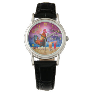 Funny Rooster Chicken Drinking Tropical Beach Sea Wrist Watches