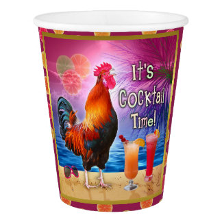 Funny Rooster Cocktail Party Tropical Beach Sea Paper Cup