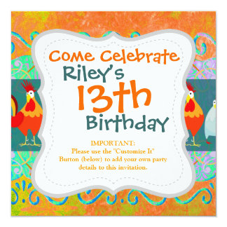 Funny Rooster Hen Funky Chicken Farm Animal Gifts 5.25x5.25 Square Paper Invitation Card