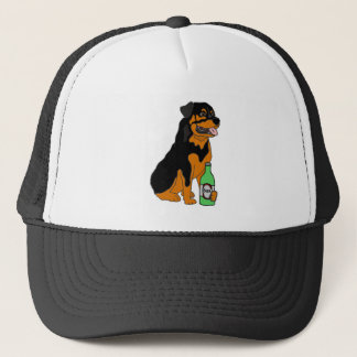 Funny Rottweiler Dog Drinking Beer Cartoon Trucker Hat