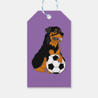 Funny Rottweiler Dog Playing Soccer Pack Of Gift Tags
