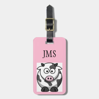 Funny Round Cartoon Cow with Pink Nose Custom Luggage Tag