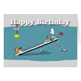 funny rowing card Birthday, fat cat and duncan