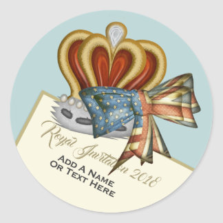 Funny Royal Wedding Crown Classic Round Sticker