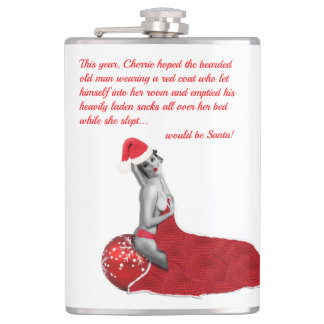 Funny Rude Christmas Santa Pinup Girl Hip Flask 02