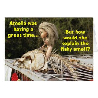 Funny & Rude Doll Riding A Dead Carp Fish, Card. Card