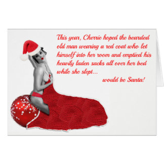 Funny Rude Risqué Humorous Pinup Christmas Card