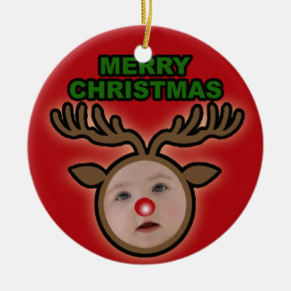 FUNNY RUDOLF PHOTO ORNAMENT