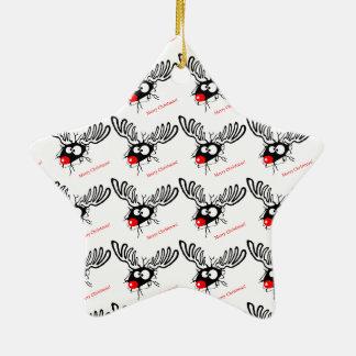 Funny Rudolf the Christmas Reindeer cracked wall Ceramic Star Ornament
