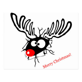 Funny Rudolf the Christmas Reindeer cracked wall Postcard