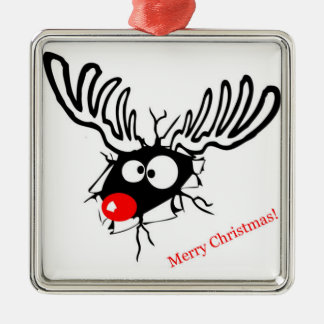 Funny Rudolf the Christmas Reindeer cracked wall Silver-Colored Square Ornament
