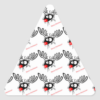 Funny Rudolf the Christmas Reindeer cracked wall Triangle Sticker