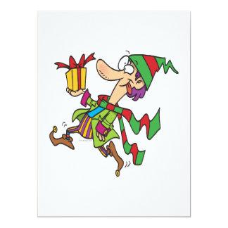 funny running christmas elf with present cartoon invitations