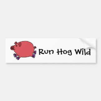 Funny Running Hog Wild Art Bumper Sticker