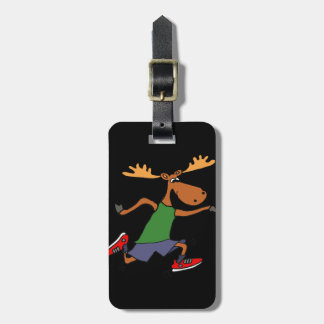 Funny Running Moose cartoon Luggage Tag