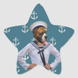 Funny sailor dog character star sticker