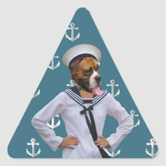 Funny sailor dog character triangle stickers