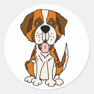 Funny Saint Bernard Puppy Dog Art Classic Round Sticker