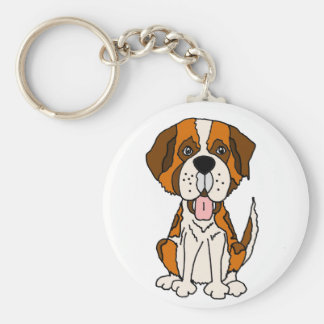 Funny Saint Bernard Puppy Dog Art Keychain