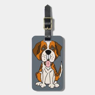 Funny Saint Bernard Puppy Dog Art Luggage Tag