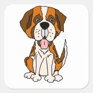 Funny Saint Bernard Puppy Dog Art Square Sticker