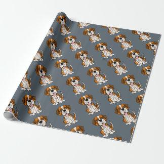 Funny Saint Bernard Puppy Dog Art Wrapping Paper