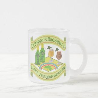 Funny Saint Patrick's Day Leprechaun Brewery Frosted Glass Coffee Mug