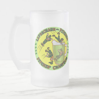 Funny Saint Patrick's Day Leprechaun Pitcher Frosted Glass Beer Mug