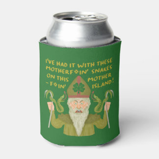 Funny Saint Patrick's Day Snakes Joke Green Irish Can Cooler