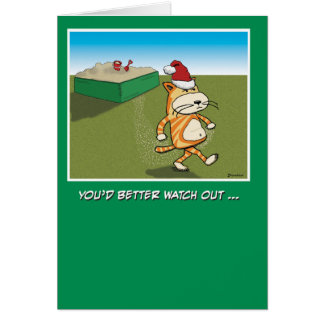 Funny Sandy Claws Cat Christmas Card