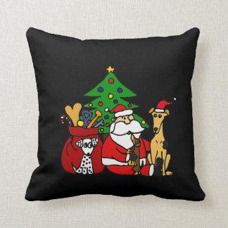 Funny Santa and Dogs Christmas Art Throw Pillow