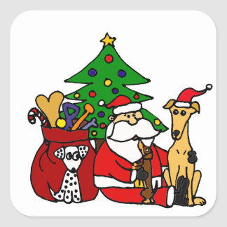 Funny Santa and Puppy Dogs Christmas Art Square Sticker