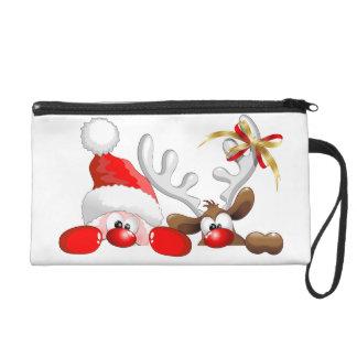 Funny Santa and Reindeer Cartoon Bagettes Bag Wristlet Purse