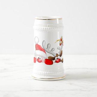 Funny Santa and Reindeer Cartoon Beer Stein