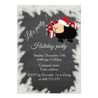 "Funny Santa cartoon sheep Chalkboard holiday party 5"" X 7"" Invitation Card"
