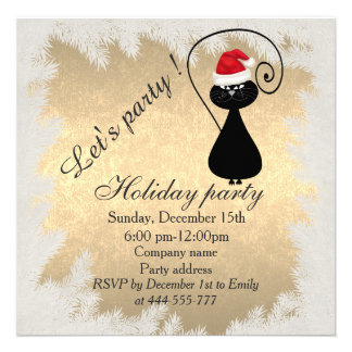 """Funny Santa cat  golden corporate holiday party 5.25"""" Square Invitation Card"""