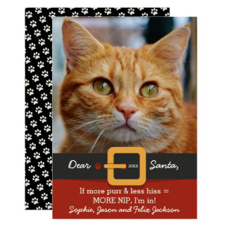 "Funny Santa Cat More Purr Less Hiss Photo 5"" X 7"" Invitation Card"