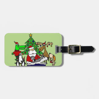 Funny Santa Christmas Art with Moose and Penguins Luggage Tag