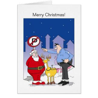 Funny Santa Christmas Card Sleigh In No Park Zone