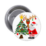 Funny Santa Claus And Reindeer Abstract 2 Inch Round Button