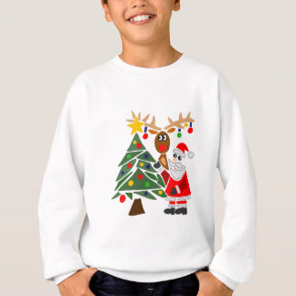 Funny Santa Claus And Reindeer Abstract Sweatshirt