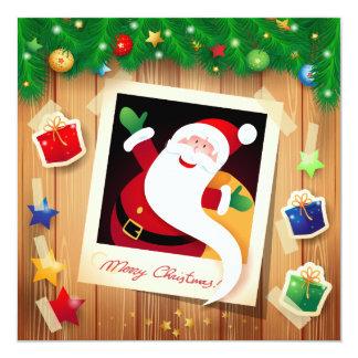 "Funny Santa Claus, card 5.25"" Square Invitation Card"